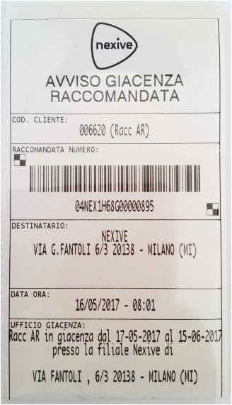 on line raccomandata nexive